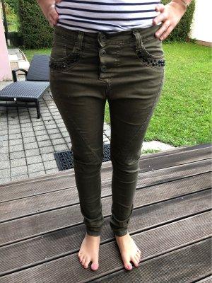Please Pantalone boyfriend verde scuro