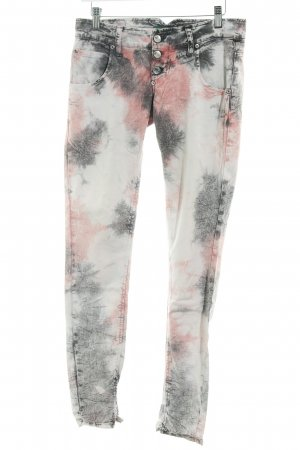 Please Hüftjeans Batikmuster Bleached-Optik