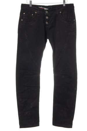 Please Low Rise jeans zwart-goud Metalen look