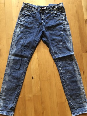 PLEASE Denim Boyfriend jeans staalblauw-lichtgrijs