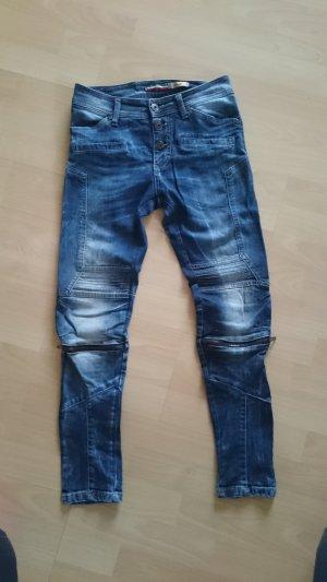 PLEASE Denim Jeans da motociclista blu acciaio-azzurro Cotone
