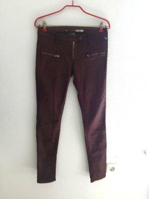 Please Jeans Bordeaux Biker Skinny NEU 34/36 Wachs Weinrot