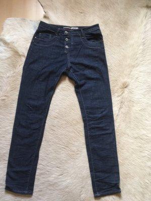 Please Jeans boyfriend blu scuro Cotone