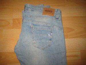 Please Jeans P68 in schöner heller Waschung Gr. L, ca. Gr. 38
