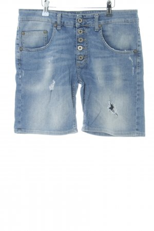 Please Denim Shorts light blue distressed style