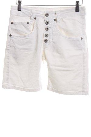 Please Pantalón corto de tela vaquera blanco look casual