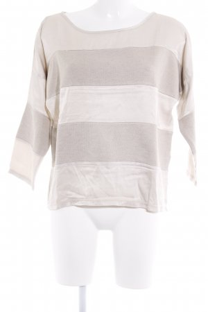 Please Longsleeve beige-creme Streifenmuster Materialmix-Look