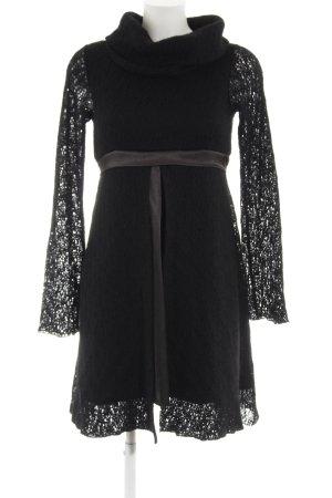 Please Pulloverkleid schwarz Lochstrickmuster Elegant