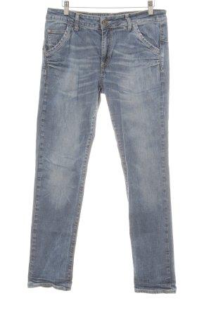 Please Drainpipe Trousers steel blue casual look