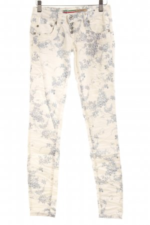 Please Drainpipe Trousers white-cornflower blue floral pattern casual look
