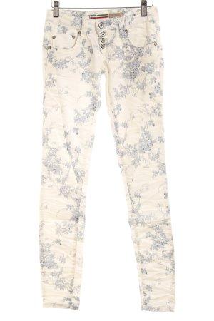 Please Röhrenhose weiß-kornblumenblau florales Muster Casual-Look