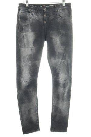 Please Röhrenjeans Batikmuster Jeans-Optik