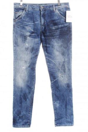 Please Röhrenjeans blau Farbverlauf Used-Optik