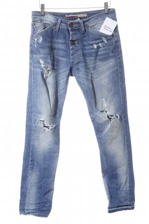 Please Röhrenjeans blau Used-Optik