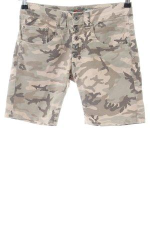 Please Shorts crema-caqui estampado de camuflaje look casual