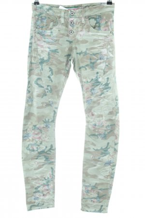 Please Skinny Jeans khaki-grün Blumenmuster Casual-Look