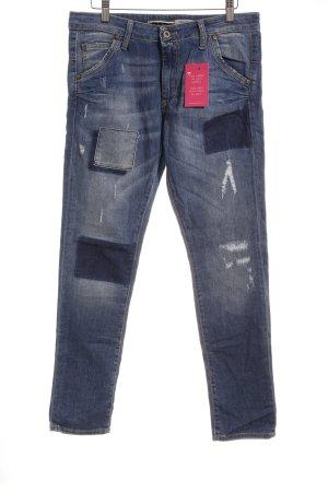 Please Skinny Jeans blau Used-Optik