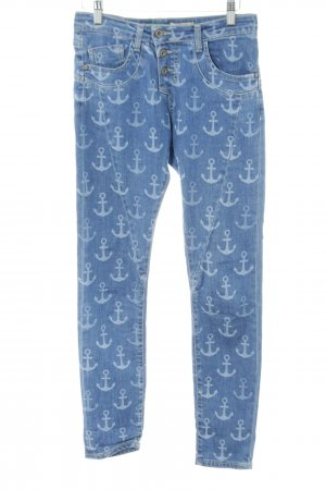 Please Skinny Jeans blau Allover-Druck Casual-Look
