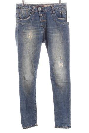 Please Skinny Jeans graublau Used-Optik