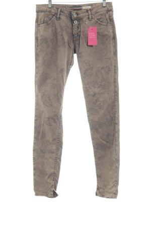 Please Skinny Jeans grey brown flower pattern casual look