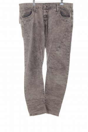 Please Skinny Jeans hellgrau-anthrazit florales Muster Hippie-Look