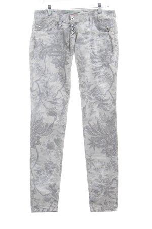 Please Skinny Jeans hellgrau-grau florales Muster Hippie-Look