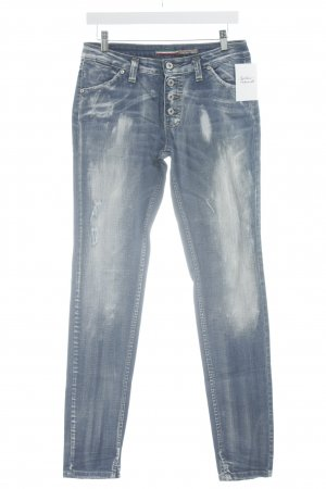 Please Skinny Jeans kornblumenblau Bleached-Optik