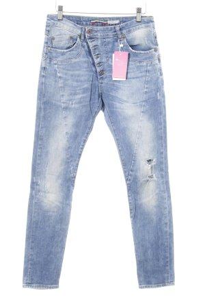 Please Skinny Jeans kornblumenblau Bleached-Optik