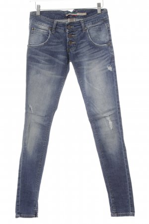 Please Skinny Jeans stahlblau-dunkelblau Casual-Look