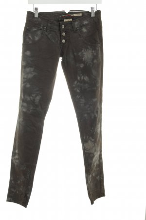 Please Skinny Jeans taupe-graubraun Batikmuster Casual-Look