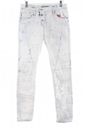 Please Skinny Jeans weiß-anthrazit Bleached-Optik