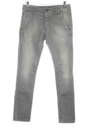 Please Skinny Jeans weiß-hellgrau Streifenmuster Casual-Look
