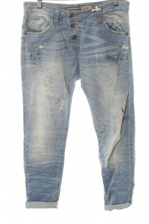 Please Slim Jeans blassblau Farbtupfermuster Casual-Look