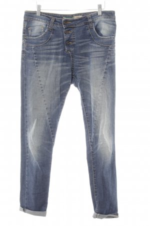 Please Slim Jeans blau Used-Optik