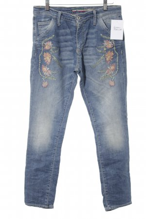 Please Slim Jeans Blumenmuster Boho-Look