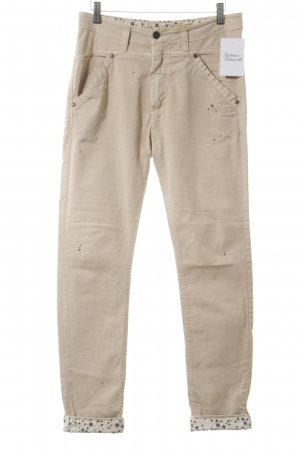 Please Slim Jeans creme Farbtupfermuster Casual-Look