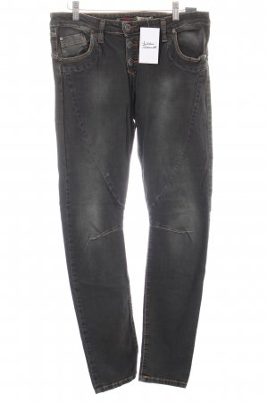 Please Slim Jeans dunkelgrün-khaki Washed-Optik