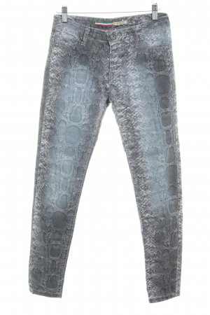 Please Slim Jeans grau-hellgrau Animal-Look