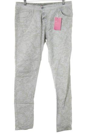 Please Slim Jeans hellbeige-wollweiß florales Muster Casual-Look