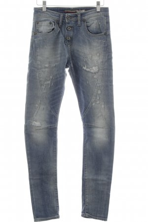 Please Slim Jeans hellblau Used-Optik