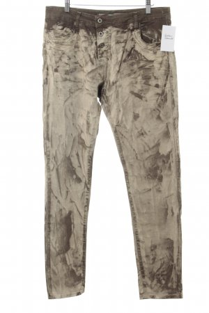 Please Slim Jeans khaki-olivgrün abstraktes Muster Casual-Look
