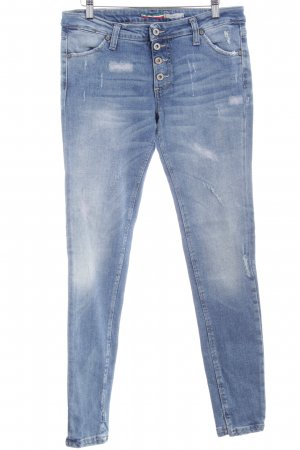 Please Slim Jeans kornblumenblau Destroy-Optik