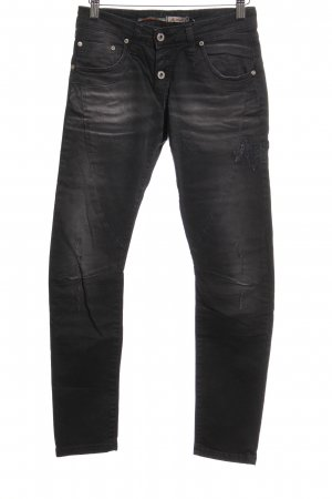 Please Slim Jeans schwarz-dunkelgrau Used-Optik