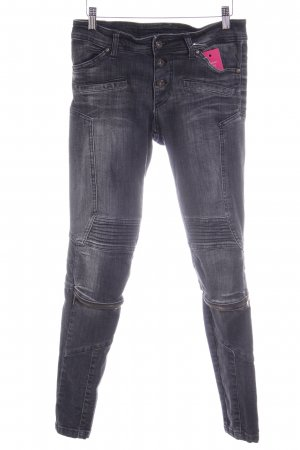 Please Slim Jeans schwarz Used-Optik