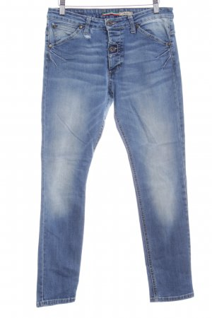 Please Slim Jeans stahlblau Destroy-Optik