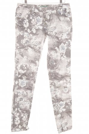 Please Straight Leg Jeans flower pattern simple style