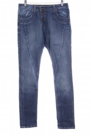 Please Straight-Leg Jeans dunkelblau-blassblau Washed-Optik