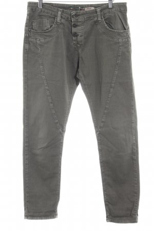 Please Straight-Leg Jeans grüngrau Washed-Optik