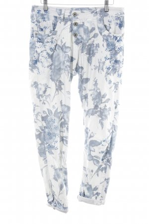 Please Stretch Jeans weiß-blau Blumenmuster Casual-Look