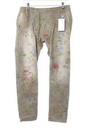 Please Stretchhose hellbraun-grün florales Muster Casual-Look